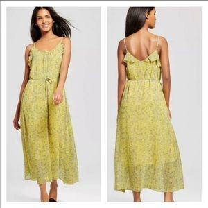 Who What Wear Yellow Floral Flowy Maxi Dress M